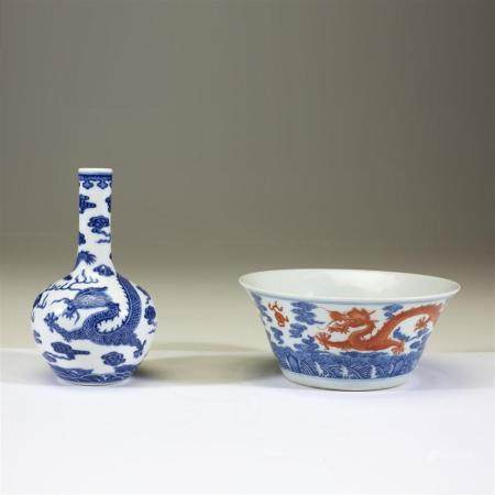 "A Chinese blue and white porcelain ""Dragon"" bottle vase and"