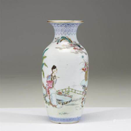 A Chinese famille rose-decorated baluster vase, 20th century