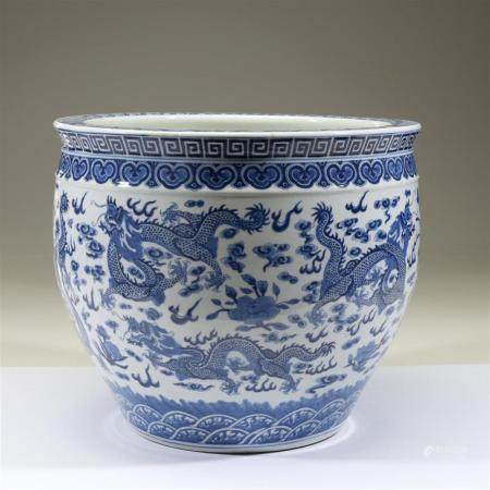 "A large Chinese blue and white ""Dragon"" jardinière, Qianlong"