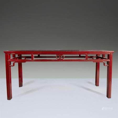 A Chinese red lacquered altar table,