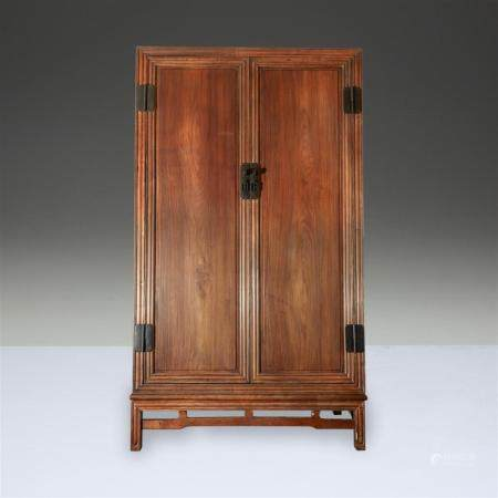 A Chinese hardwood rectangular cabinet, Qing dynasty with la