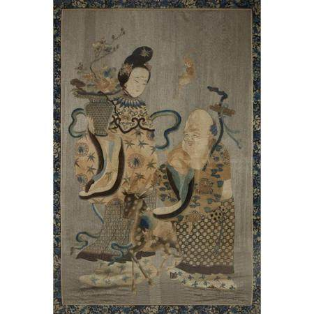 A large Chinese embroidered silk panel depicting Shoulao and