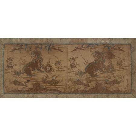 A Chinese embroidered silk panel, Qing dynasty, 19th century