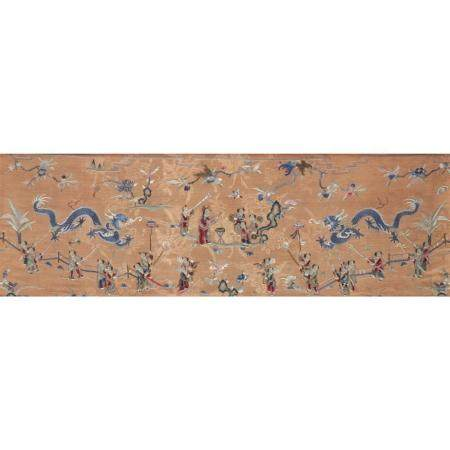 "A Chinese embroidered silk textile, ""Dragon Dance"", 19th cen"