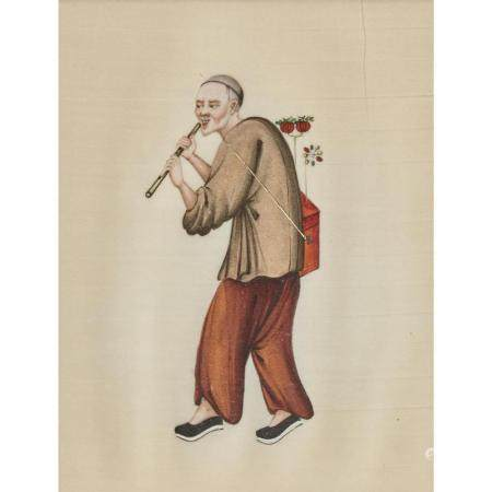 Three Chinese export pith paper paintings of laborers,