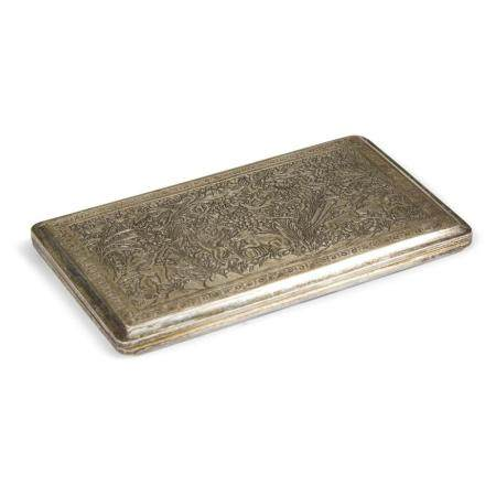 A Persian engraved silver cigarette case,