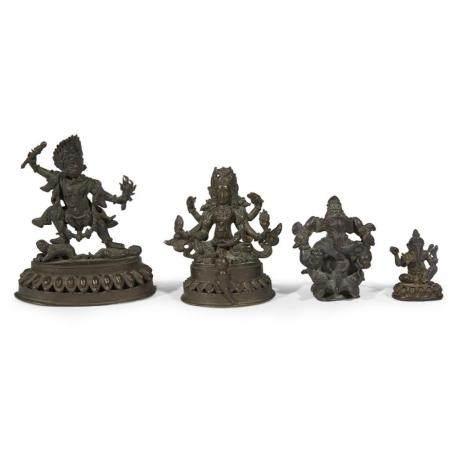 Four Indian/Indo-Himalayan bronze figures of deities,