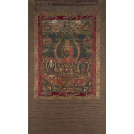 A Tibetan thanka depicting Bhaisajyaguru, the medicine Buddh