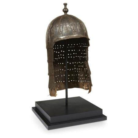 A Tibetan inlaid iron lamellar helmet, possibly 16th/17th ce