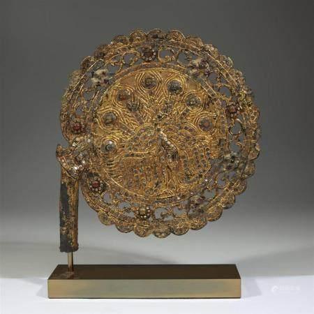 A Burmese embellished gilt and lacquered metal pierced cerem