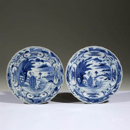 A pair of Japanese blue and white porcelain barbed dishes, 1