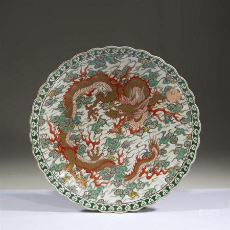 "A Japanese porcelain lobed ""Dragon"" charger, 19th/early 20th"