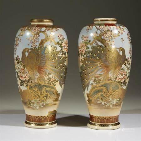 A pair of Satsuma-type enameled Japanese vases, signed Gyoku