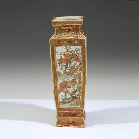 A Japanese Satsuma-style pottery footed vase, Late 19th cent