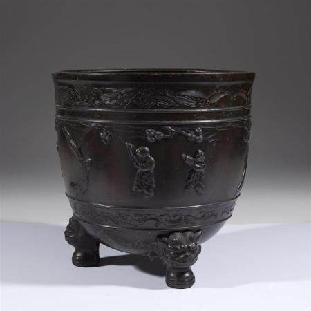 A Japanese patinated bronze large censer, 19th century
