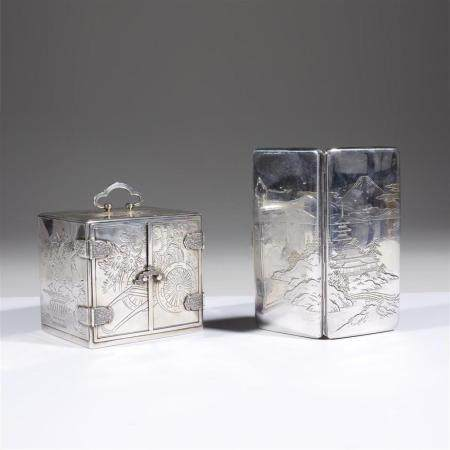 A Japanese small sterling silver cabinet and a card case,