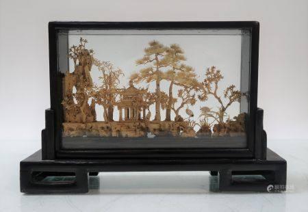 Jardin miniature en liège. 10x17cm