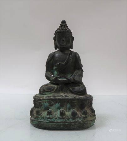 Petit bouddha de style Ming en bronze. Chine. Travail moderne. Hauteur 16cm