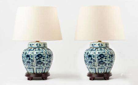 A pair of Chinese blue and white porcelain jar table lamps o