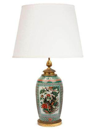 A large famille-verte Chinoiserie table lamp with gilt bronz