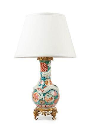 A painted porcelain dragon lamp, Japanese, circa 1900