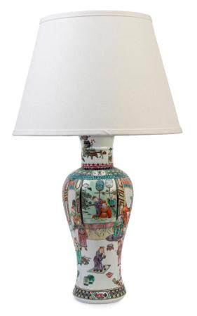 A polychrome enamel baluster vase lamp, Chinese, first half