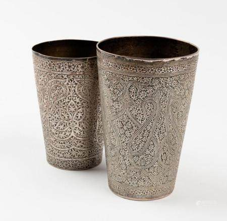 Two finely chased Indian silver beakers, 19th century