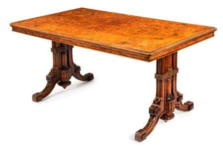 A finely carved Anglo-Indian burr walnut centre table, 19th
