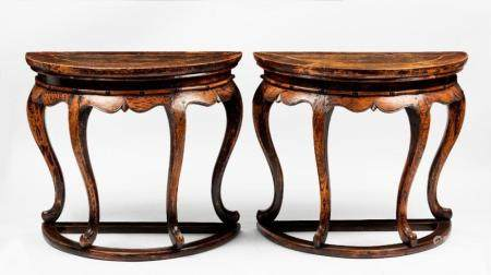 A pair of Chinese elm demi-lune tables