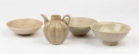 Three qingbai style bowls and a lobed ewer