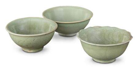 Three Longquan celadon bowls Yuan/Ming dynasty