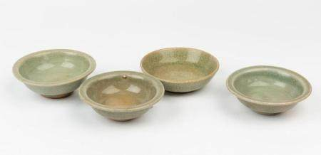 Four Song-style celadon-glazed bowls