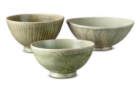 ThreeLongquan celadon bowls Yuan/Ming dynasty