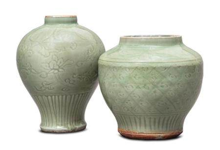 Two Longquan celadon vases Ming dynasty