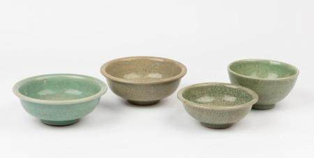 Four celadon-glazed bowls Ming dynasty and later