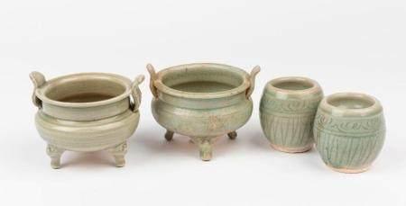 Four celadon-glazed wares