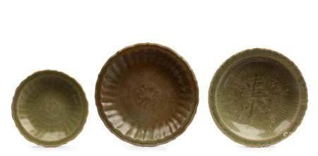 Three Longquan celadon dishes Ming dynasty