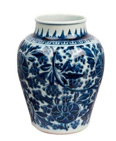 A blue and white vase late Qing dynasty