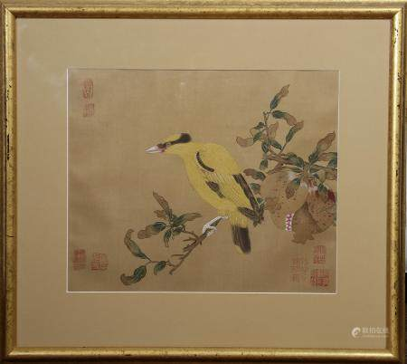 Chinese Framed Ink and color on Silk