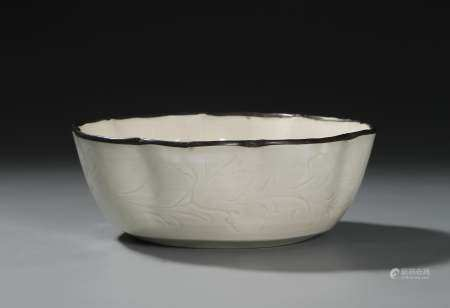 Chinese Carved Ting Ware-Type Lobed Bowl