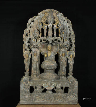 Ancient Stone Carved Buddha Backrest
