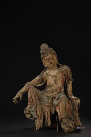 Ming Dynasty, Wood Carved Kuan Yin Buddha