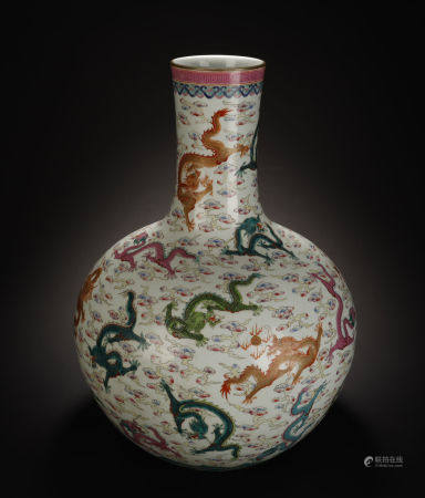 Famille Rose with Dragon Pattern Tianqiu Vase