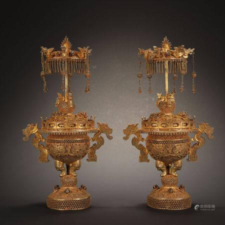 Qing Dynasty, Pair of Incense Burner Inlaid Gemstones