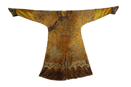 Qing Dynasty, Yellow-Groud Embroidered  Dragon Royal Robe