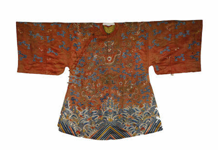 Qing Dynasty, Red-Ground Embroidered Dragon Pattern Robe