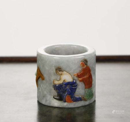 Jadeite Inlaid Thumb Ring