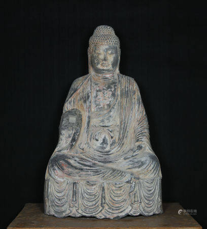 Ancient Stone Carved Shakyamuni Buddha Statue