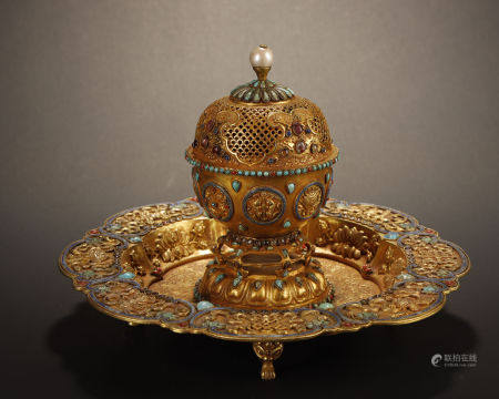 Liao and Jin Dynasty, Gilt Silver Inlaid Turquoise