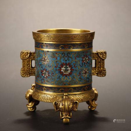 Qing Dynasty, Gilt Bronze Cloisonne Tripod Incense Burner